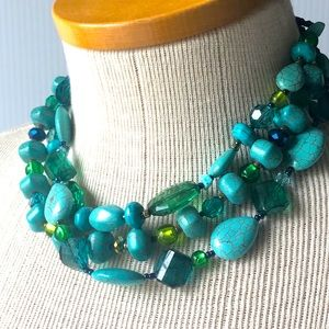 Faux Turquoise Necklace 3-strands